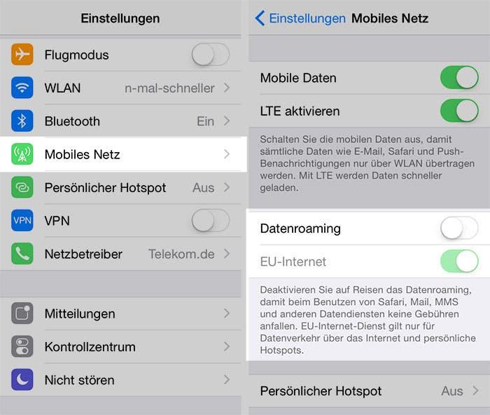 iOS 8 Roaming