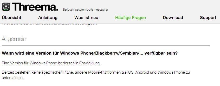Threema FAQ Windows Phone