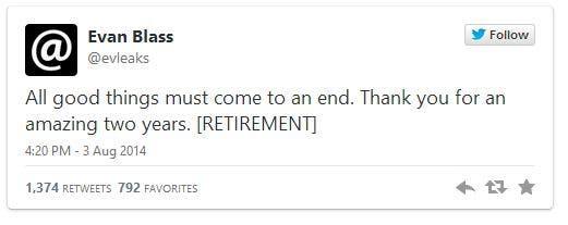 Evan Blass Retirement