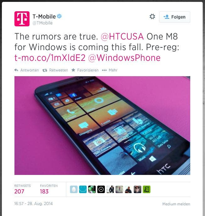 T-Mobile HTC One M8 for Windows