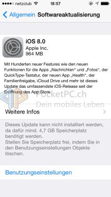 Screenshot iOS 8 Update
