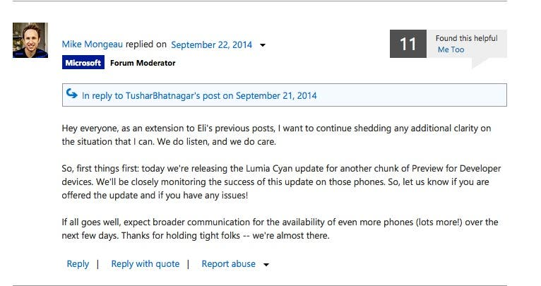Lumia Cyan Developer Preview