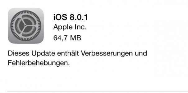 Apple iOS 8.0.1