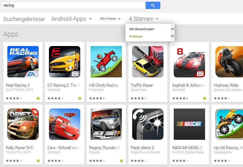 Bewertungsfilter im Google Play Store