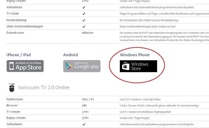 Swisscom TV 2.0 Plus Windows Phone Link