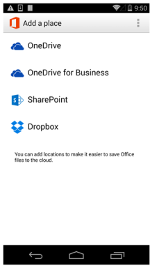 Office Mobile für Android mit Dropbox Integration