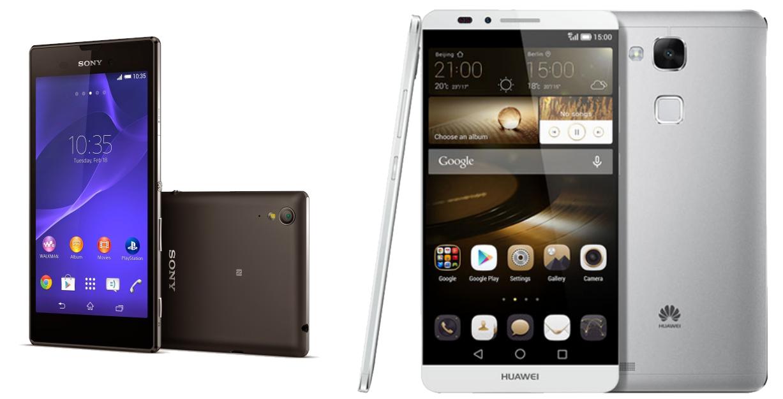 Sony Xperia T3 und Huawei Ascend Mate7