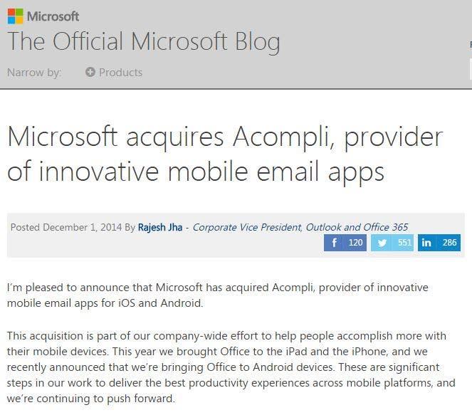 Microsoft kauft Acompli E-Mail