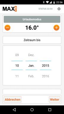 Die Android App der Max! Heizungssteuerung