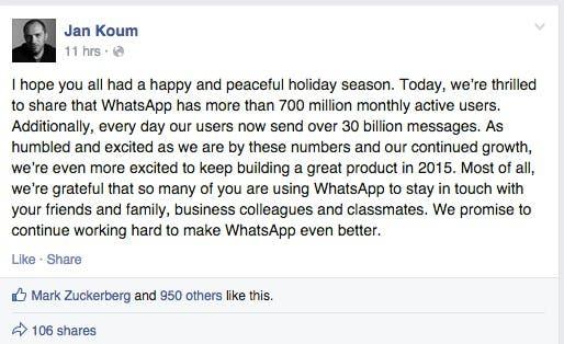 WhatsApp verkündet 700 Millionen Nutzerinnen und Nutzer