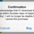 Apple AppStore Verzicht des Rückgaberechts