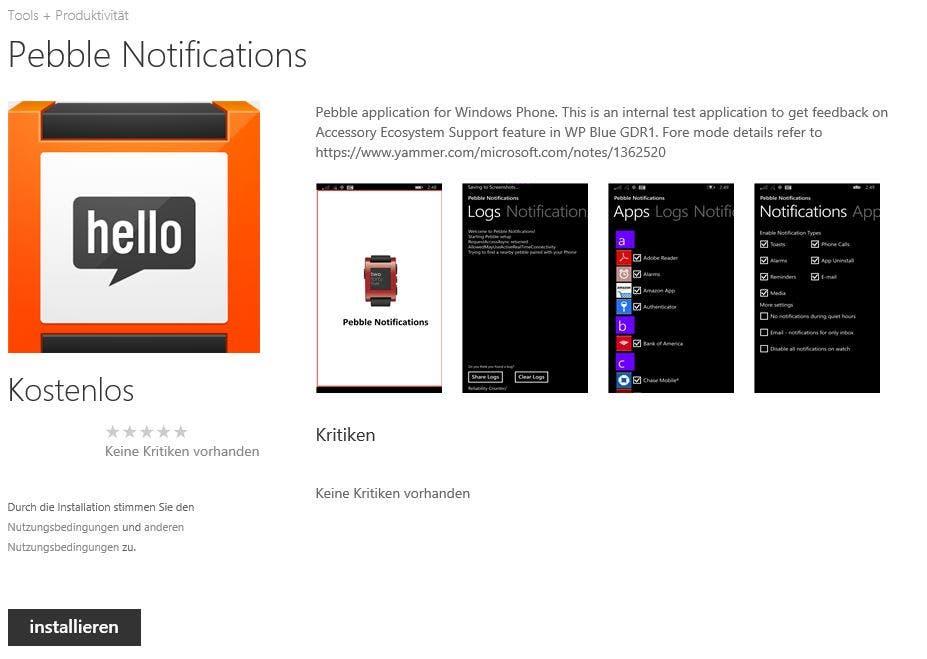 Pebble Notifications Windows Phone