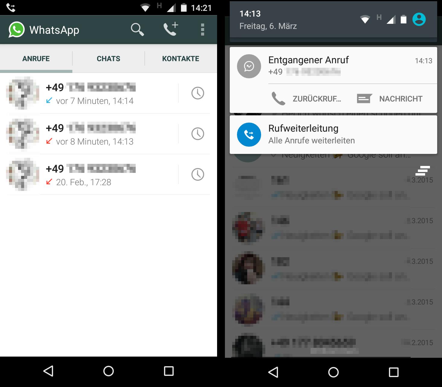 WhatsApp telefonie freischalten