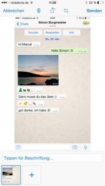 WhatsApp für iOS: Beschriftung von Bildern