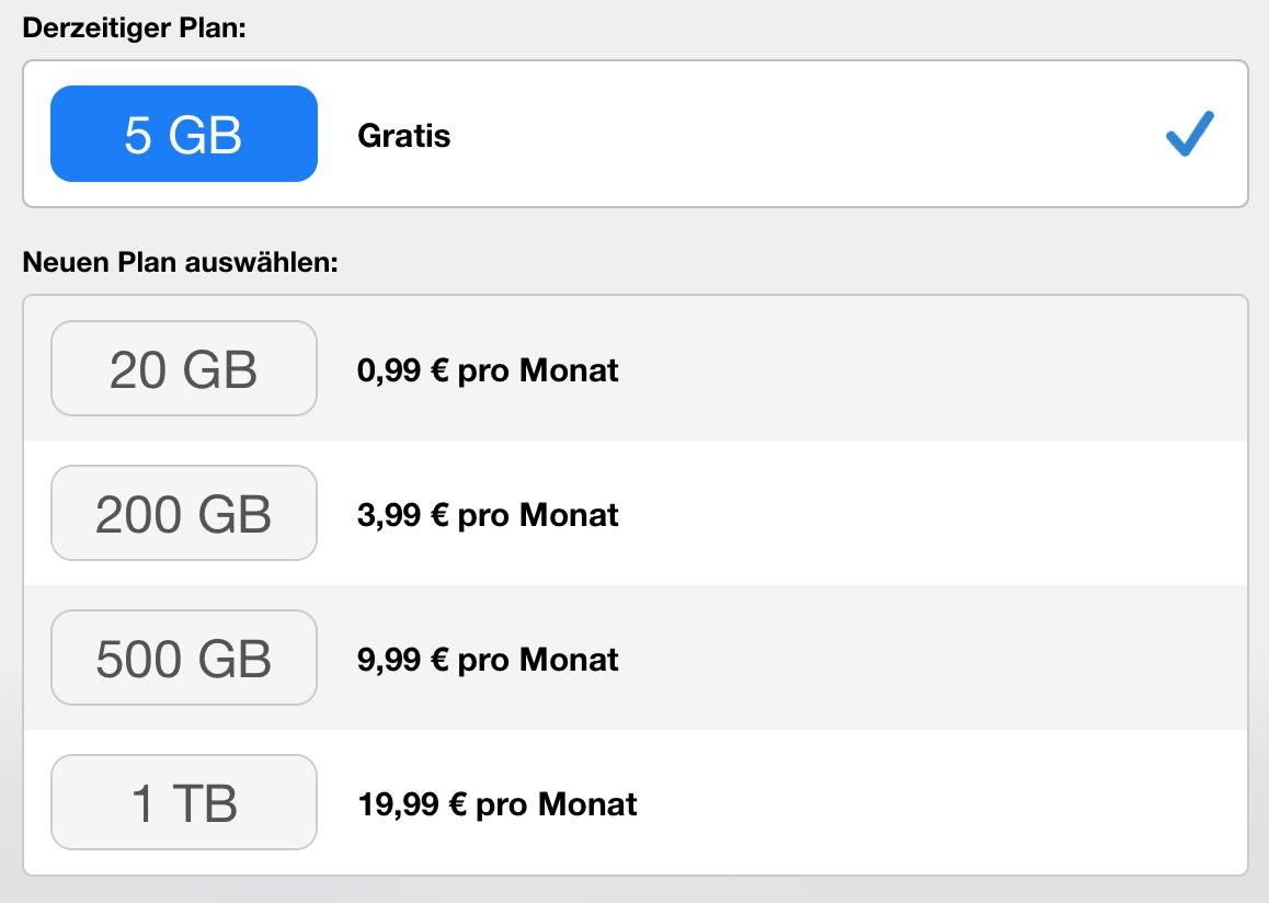 Apple iCloud Preise für Datenplan