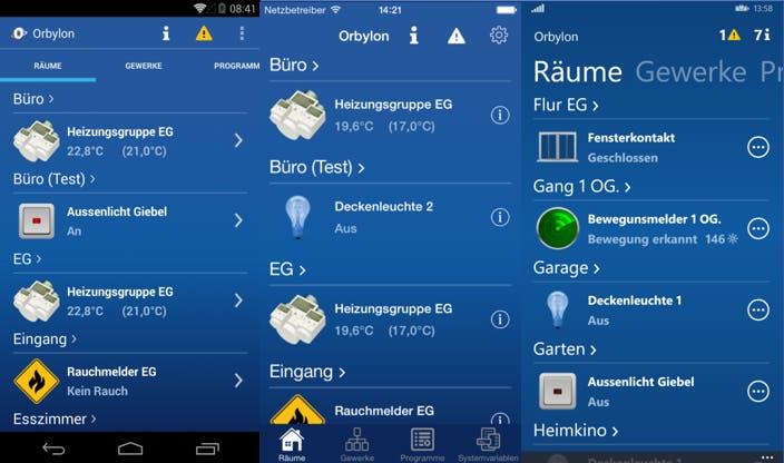 Orbylon Apps für Android, iOS und Windows Phone