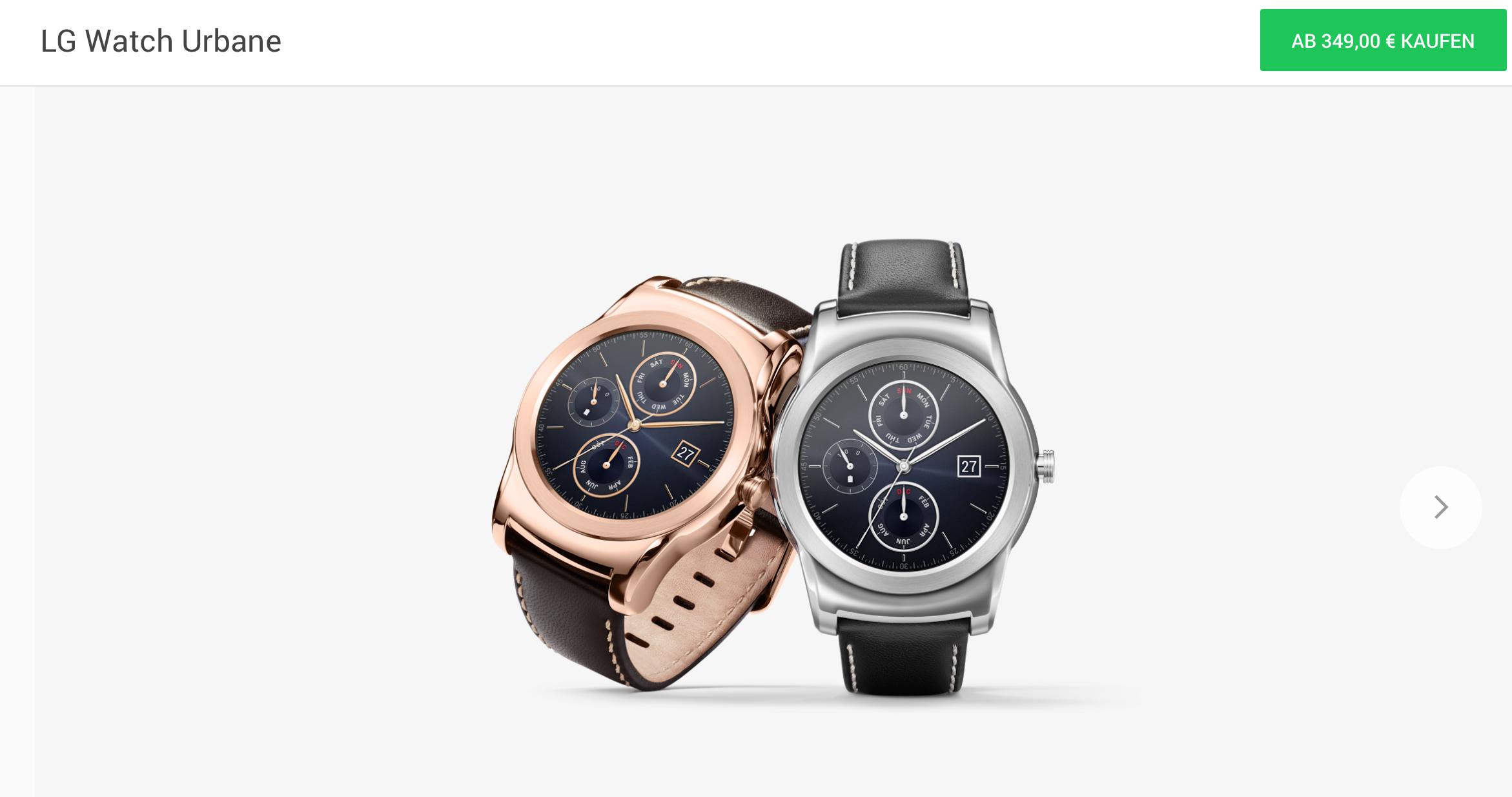 LG Watch Urbane im Google Store