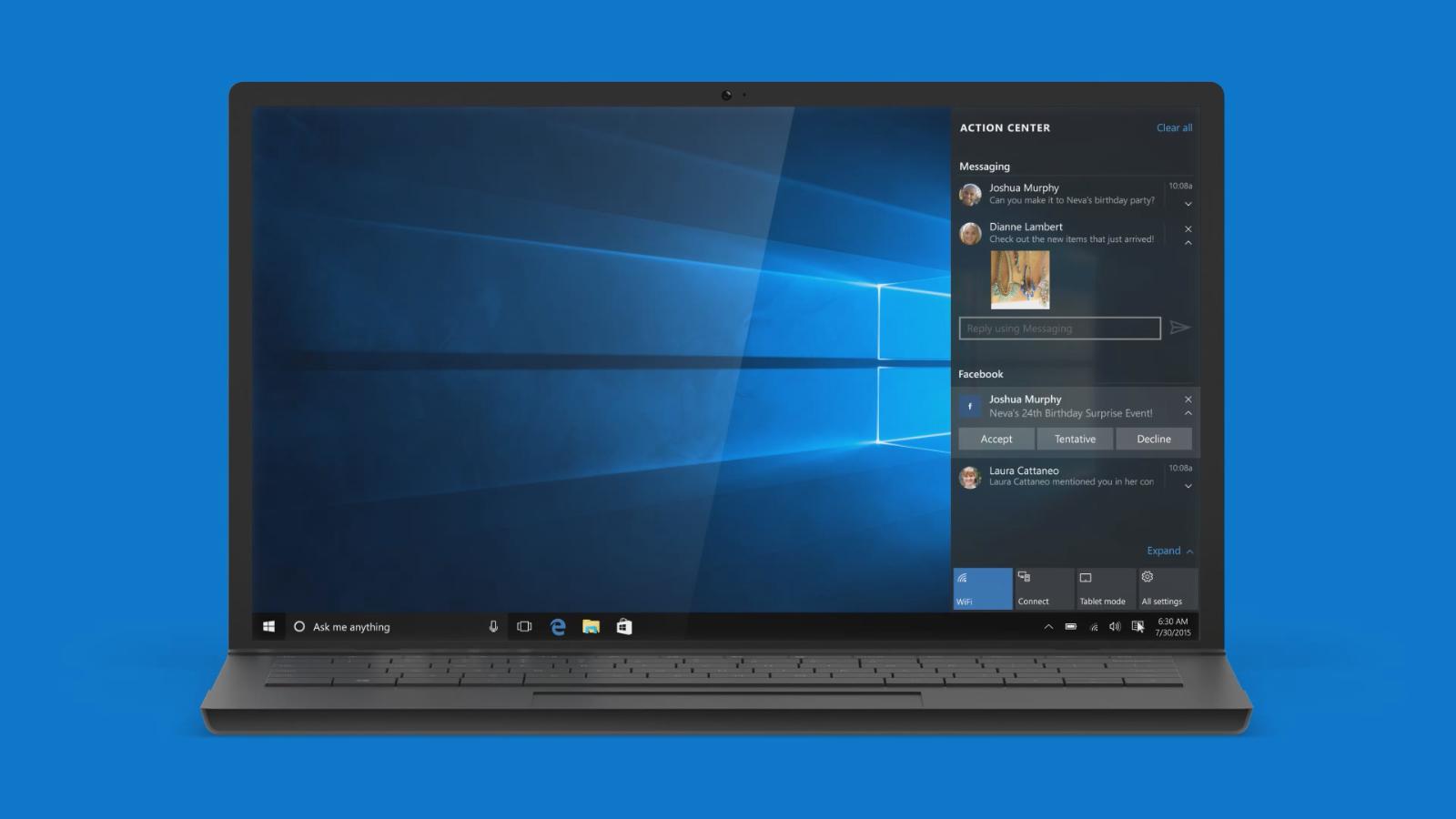 Windows 10 Messenger notification screenshot leak