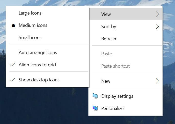 Windows 10 Build 10532 Context menüs