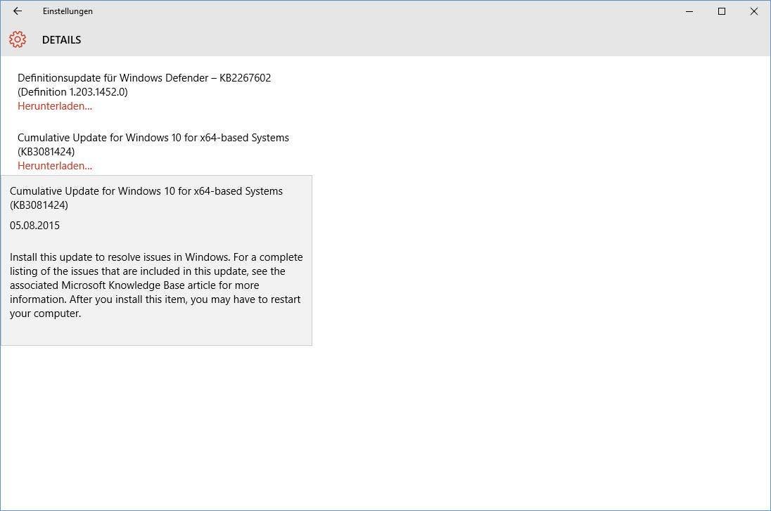 Windows 10 Service release 1 KB3081424