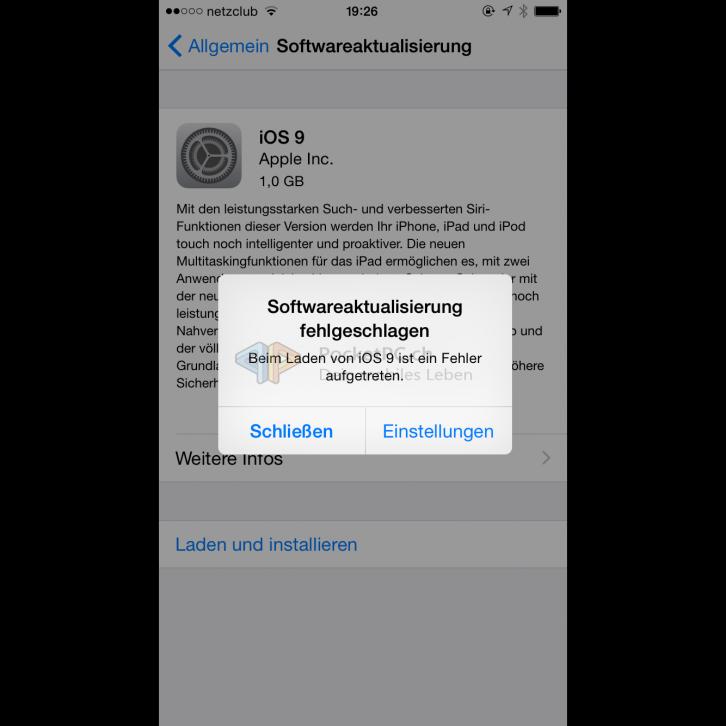 Apple iOS 9 Softwareaktualisierung schläft fehl