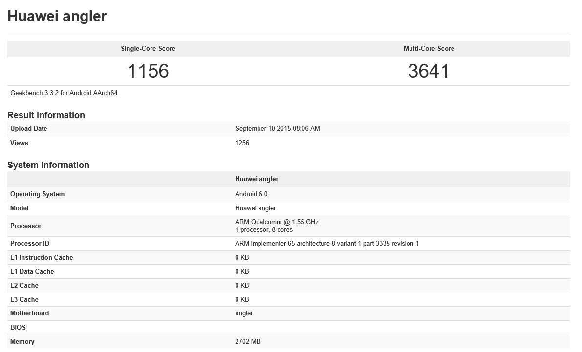 nexus 6 2015 geekbench benchmark