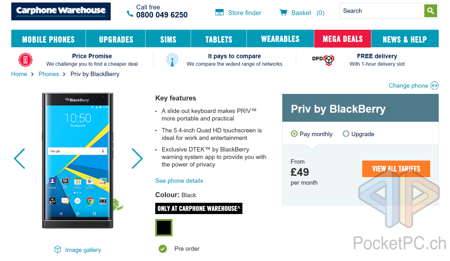 BlackBerry PRIV bei Carphone Warehouse