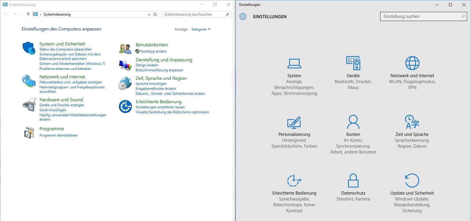 Windows 10 Systemsteuerung und Einstellungen