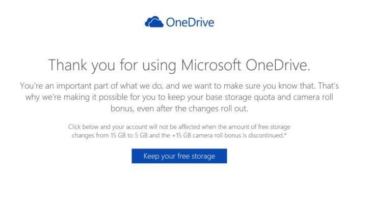 OneDrive Speicher behalten