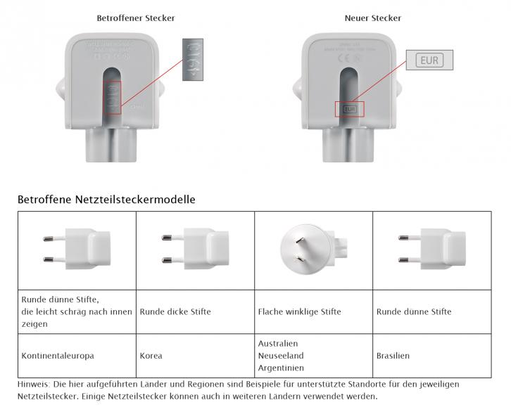 Apple Netzteil Adapter Austausch