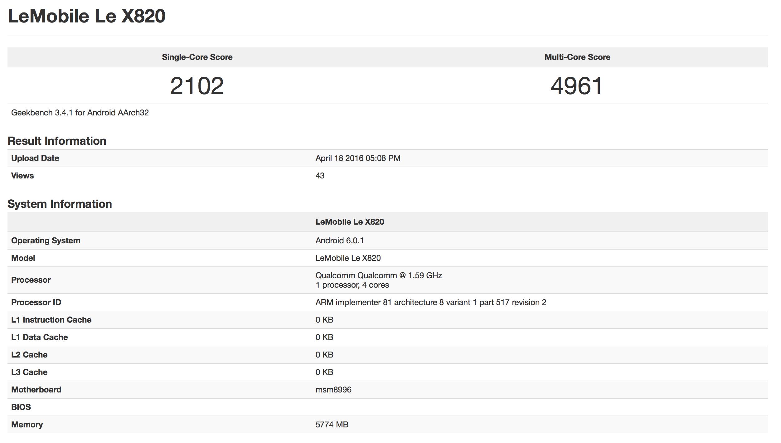 LeTV Le X820 Geekbench 3