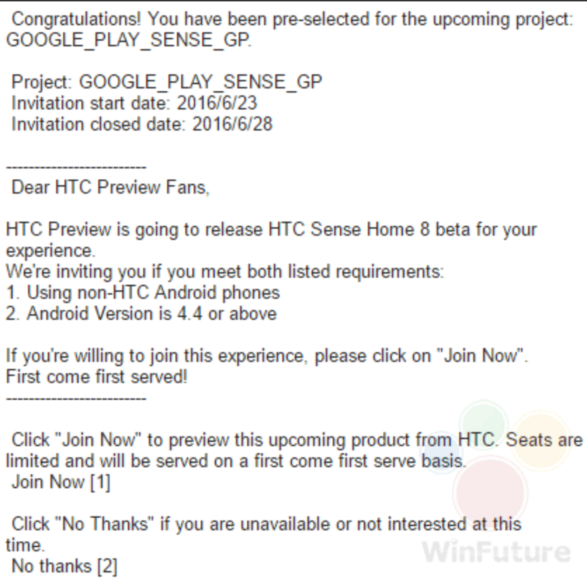 HTC Sense 8 Preview Programm Mail