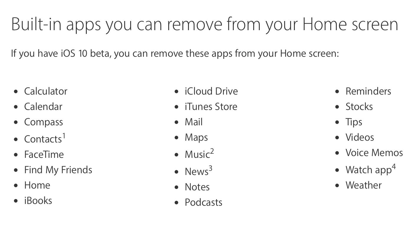 Apple iOS 10 Beta Systemapps entfernen