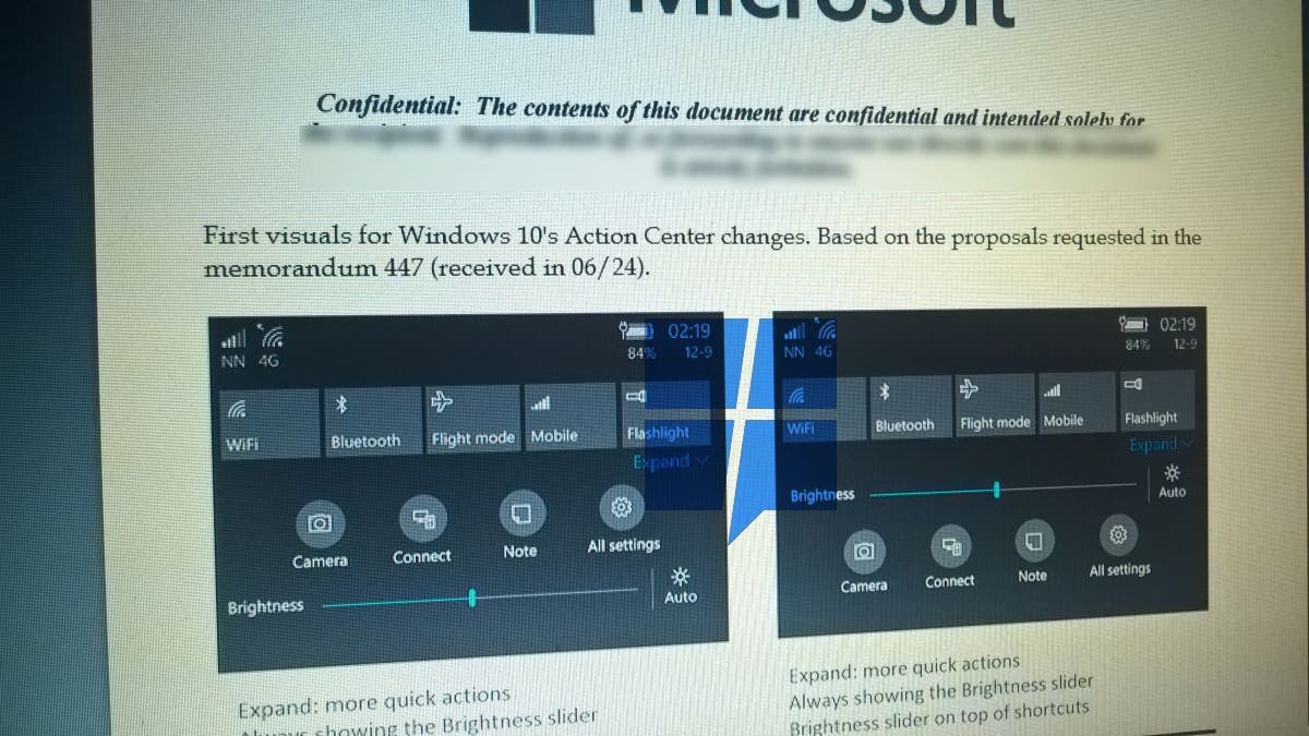 Windows 10 Mobile Action Center