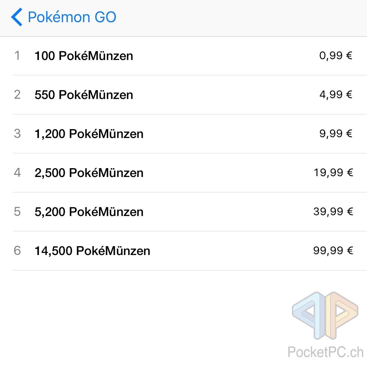 Pokémon GO inApp-Käufe