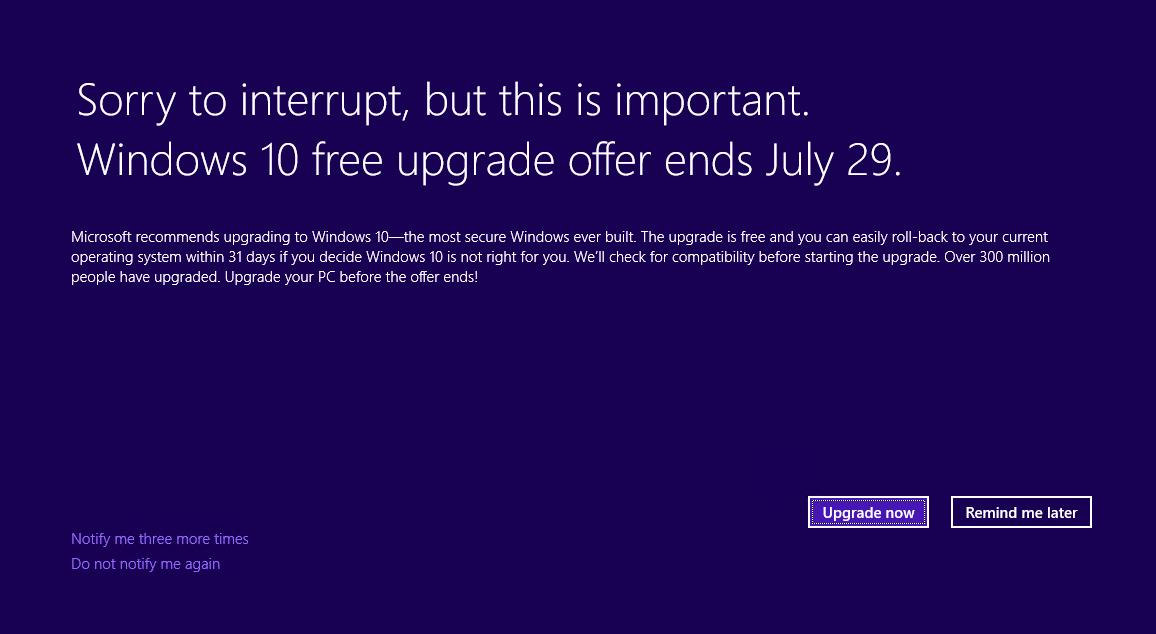 Windows 10 Update Hinweis