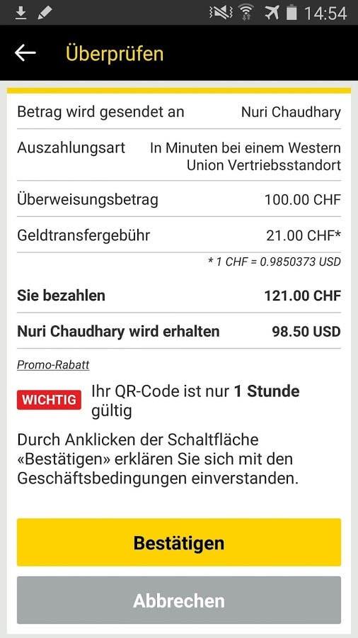 geld verschicken mit western union