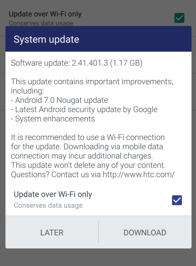 HTC 10 Nougat Update UK
