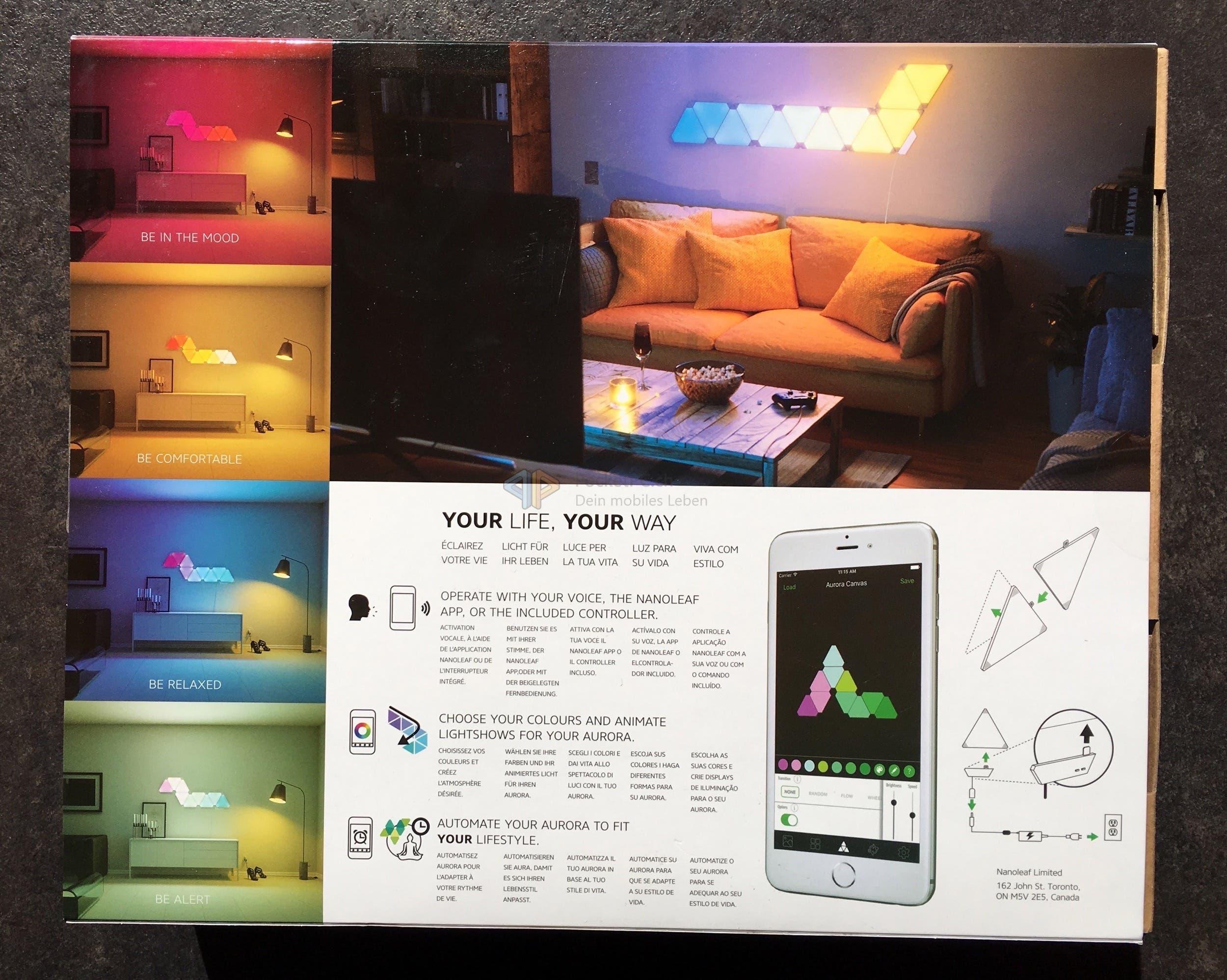 review nanoleaf aurora smart home designlampen im test. Black Bedroom Furniture Sets. Home Design Ideas