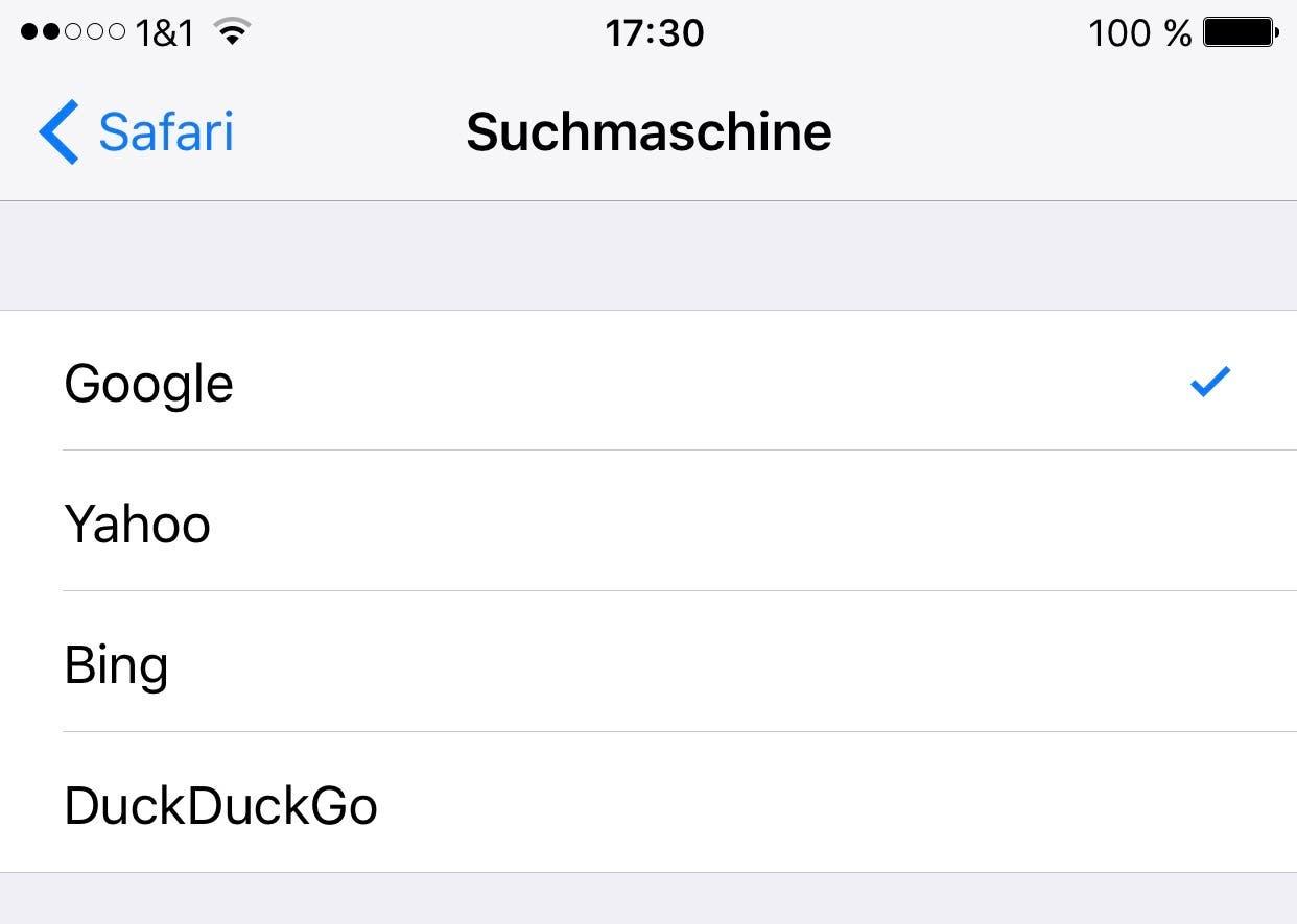 iOS Safari Google Suche