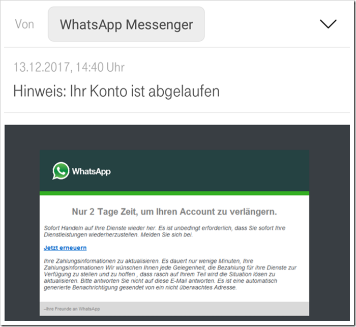WhatsApp Fake Mail (Bild: Mimikama)