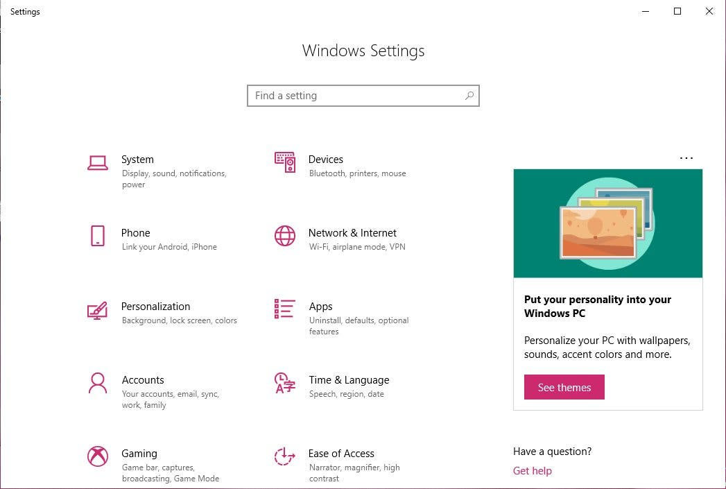 Windows 10 Settings Werbung