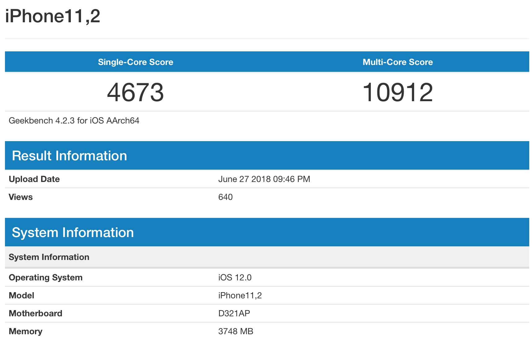iPhone X 2018 Geekbench 4