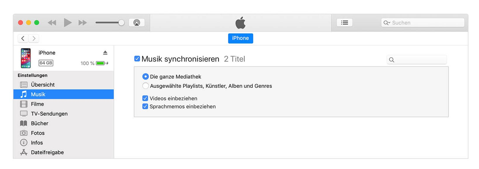 Apple iTunes mit dem iPhone synchronisieren