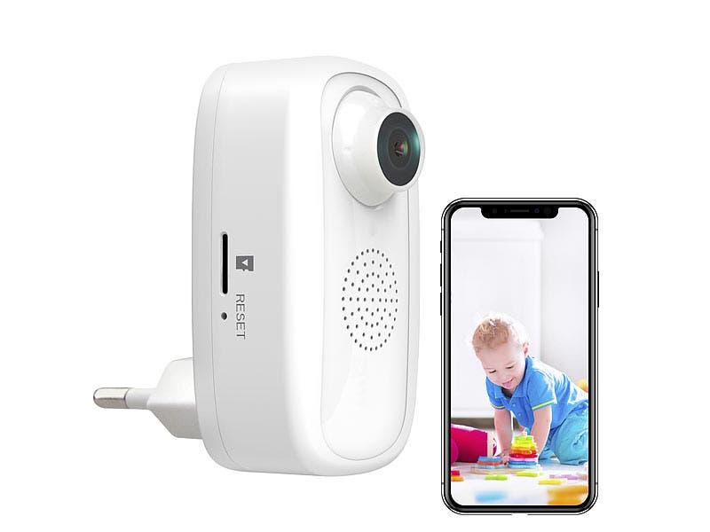 7links Steckdosen-Full-HD-IP-Kamera IPC-250.fhd, WLAN, App, für Echo Show & Google Nest