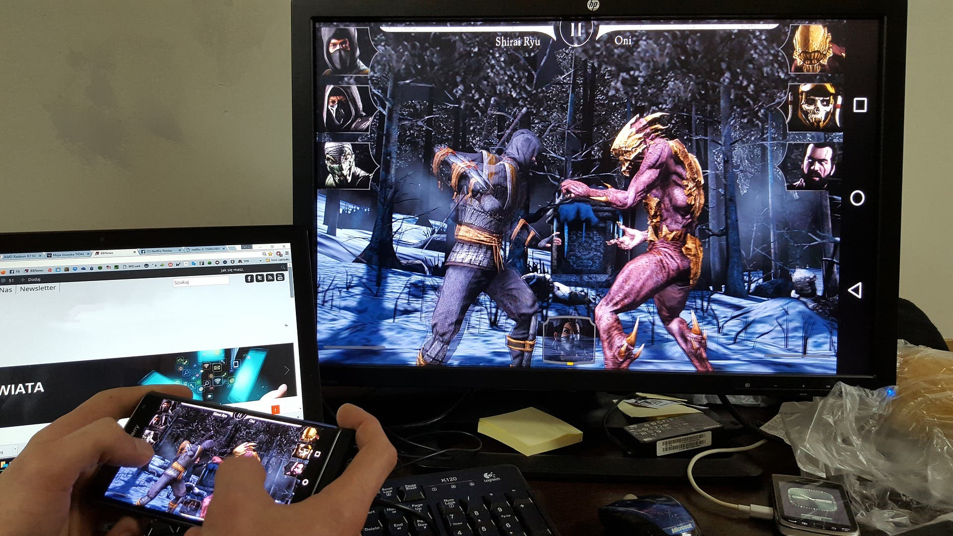 mobile gaming auf grossem Monitor